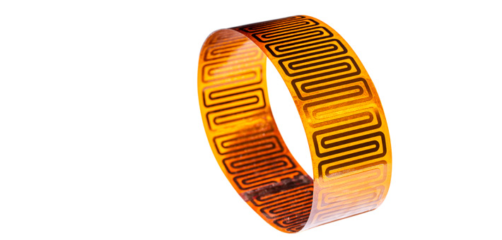 Cylindrical Kapton strip heater for tube heating