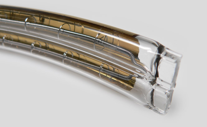 bent twin tube with gold reflector