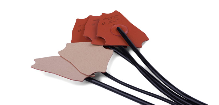 self-adhesive silicone heaters, central termination, with silicone sleeve