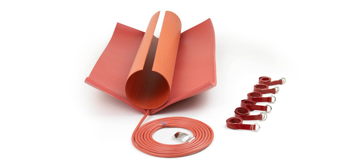 preformed silicone heater with silicone foam fixed in the middle, silicone cable, silicone straps