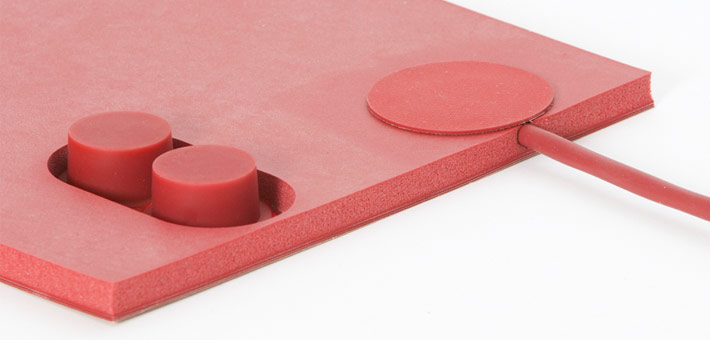 "silicone heater mat with silicone foam, 2 limiters 1/2"" disk and silicone cable"