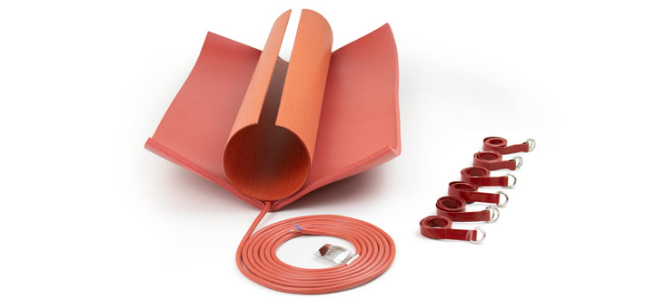 preformed silicone heater with silicone foam fixed in the middle and silicone straps for mounting