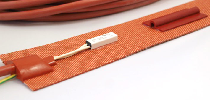 silicone heater with limiter Uchiya, pocket for capillary thermostat and silicone cable